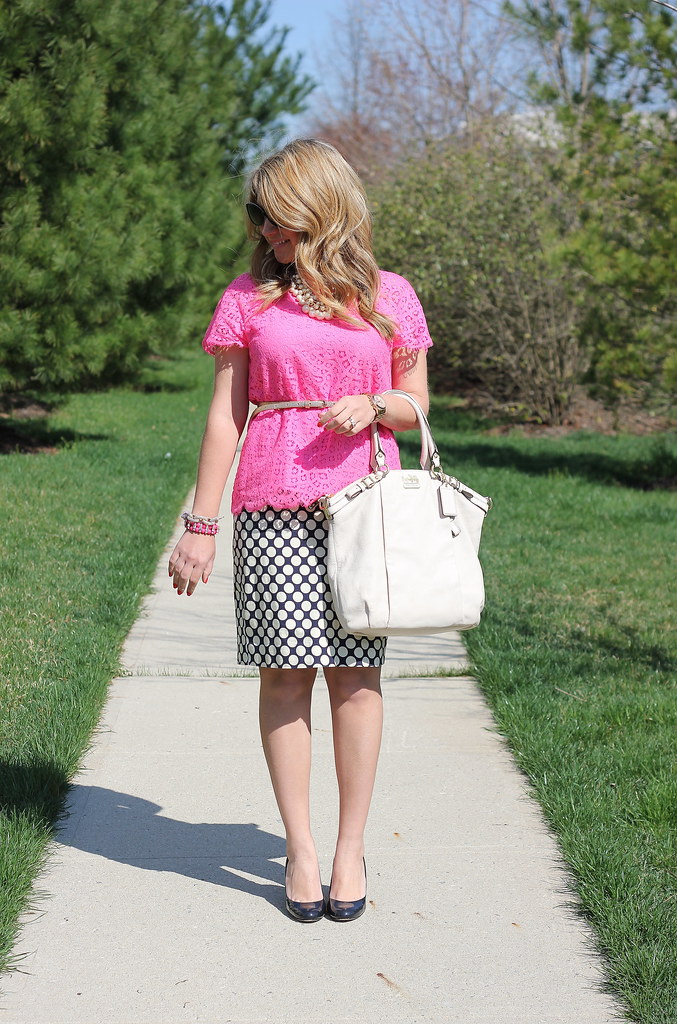 pink lace top and polka dot pencil skirt spring office outfit idea