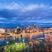 Clouds race over the Pittsburgh skyline at the blue hour in HDR by Dave DiCello