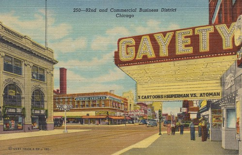 chicago vintage illinois linen district postcard superman business commercial walgreens 1950 92nd atomman curtteich atoman imperialcredit