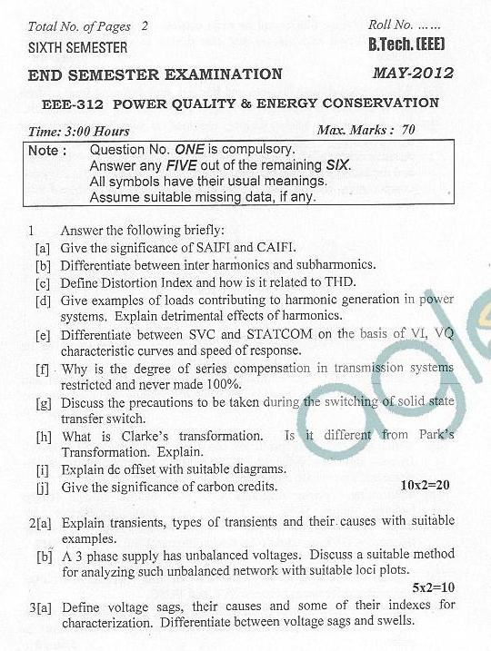 DTU Question Papers 2012 - 6 Semester - End Sem - EEE-312