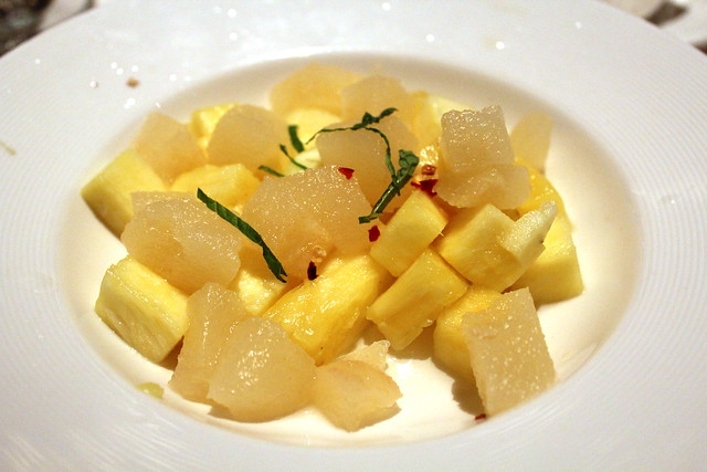Pear and Sweet Pineapple maccerated with chili flakes, fresh mint and a splash of tequila
