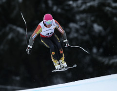 Ben Thomsen catches air in the world championships men's super-G in Schladming, Austria.