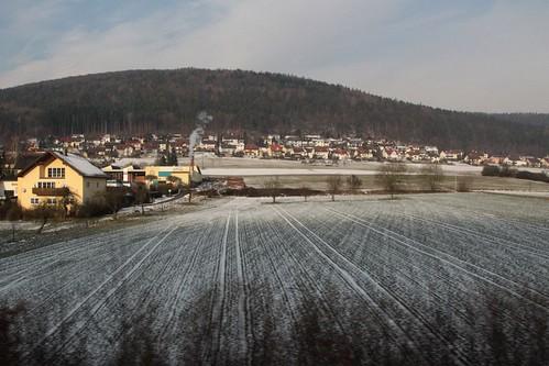 Snow covered village of Neuendorf, Germany