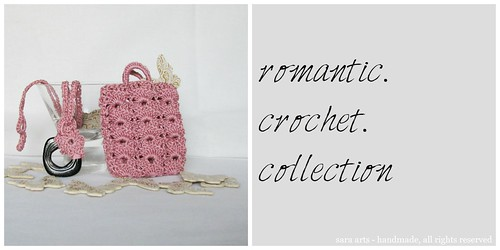 Romantic crochet necklace with case - pink