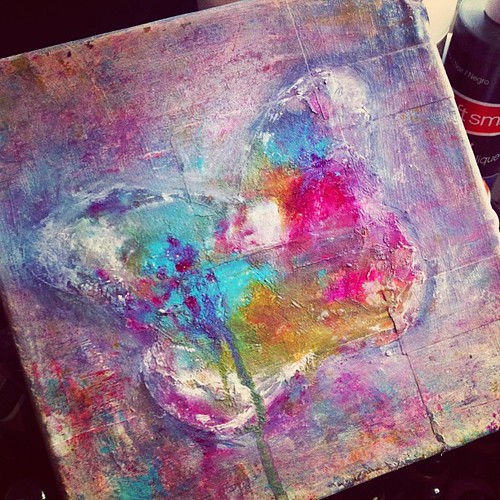 Partially happy with it... Just letting my creativity flow day by day. #mixedmedia #artherapy #paint