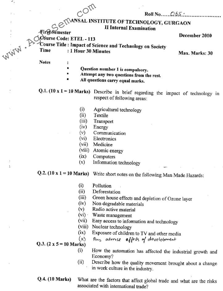 GGSIPU: Question Papers First Semester – Second Term 2010 – ETEL-113