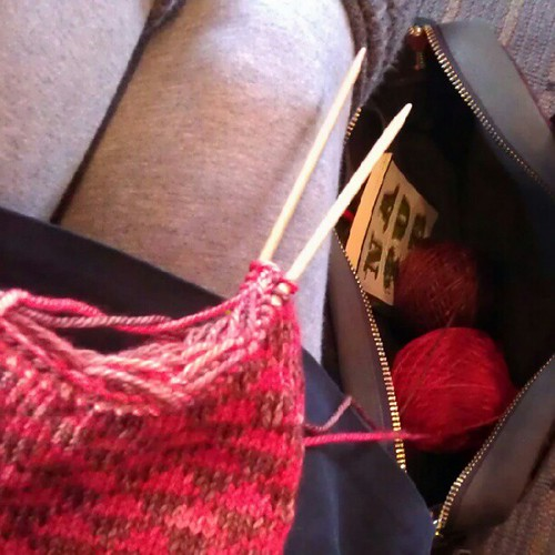 Knitting my lunch break away.