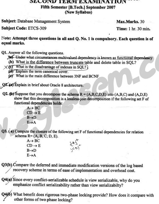 GGSIPU Question Papers Fifth Semester – Second Term 2007 – ETCS-309