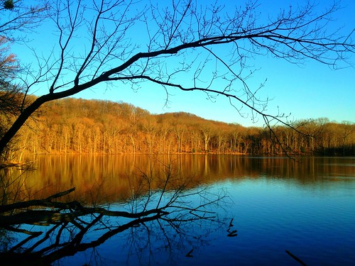 A winter sunset at Radnor Lake