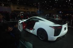automobile(1.0), exhibition(1.0), wheel(1.0), vehicle(1.0), lexus lfa(1.0), performance car(1.0), automotive design(1.0), lexus(1.0), auto show(1.0), land vehicle(1.0), coupã©(1.0), supercar(1.0), sports car(1.0),