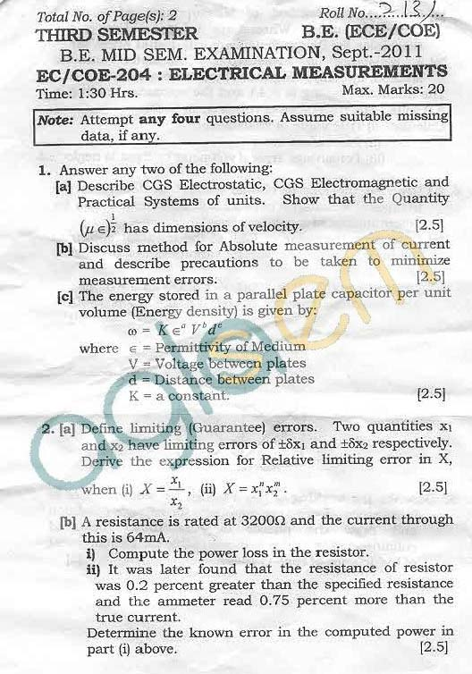NSIT: Question Papers 2011 – 3 Semester - Mid Sem - EC-COE-204