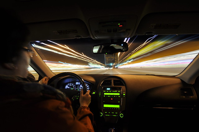 Inside the car light trails