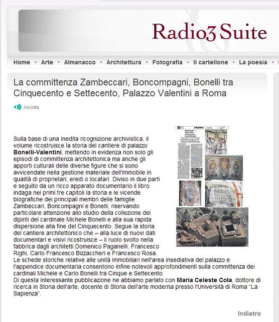 ROMA ARCHEOLOGIA & BENI CULTURALI: La committenza Zambeccari, Boncompagni, Bonelli tra Cinquecento e Settecento, Palazzo Valentini a Roma, RADIO3.RAI.IT (06/02/2013).