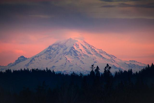 Mt. Rainier Watches the Setting Sun