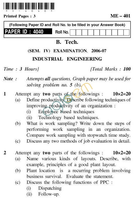 UPTU: B.Tech Question Papers - ME-401 - Industrial Engineering