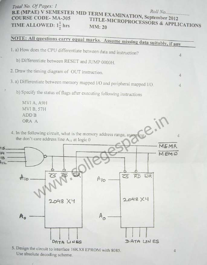 NSIT Question Papers 2012 – 5 Semester - Mid Sem - MA-305