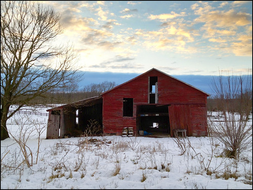 winter sunset red snow clouds barn mar pad 0306 2013