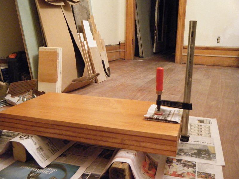 Wood for shelves clamped together