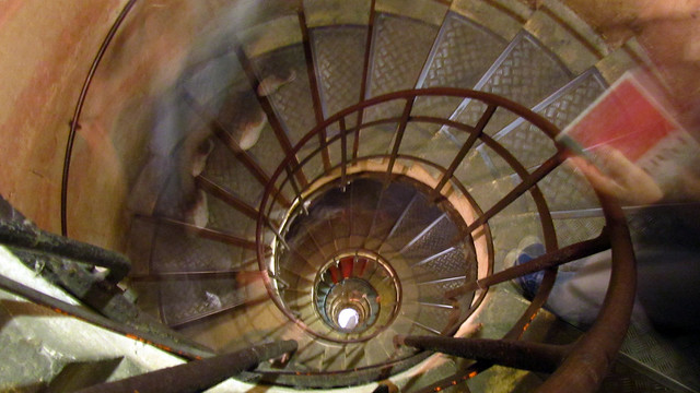 Walking down spiral stairs
