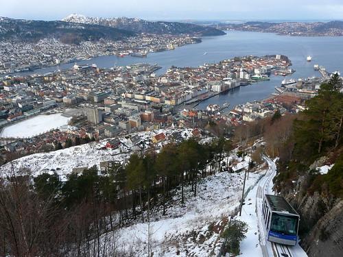 Bergen et le funiculaire du Mont Fløyen