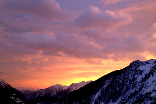 winter sunset sky snow mountains clouds switzerland graubünden bouoo°2