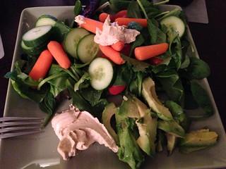 hummus, salad, avocado
