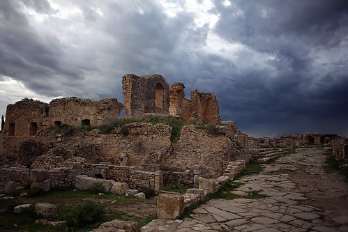 When the storm is coming over the roman ruins