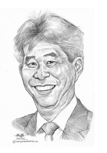 Pencil portrait for Chinese Swimming Club president - 2 (revised)