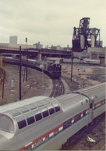 Amtrak terminal switchig activity at South Wye unction near Chicago Union Station.  Chicago Illinois.  November 1983. by Eddie from Chicago