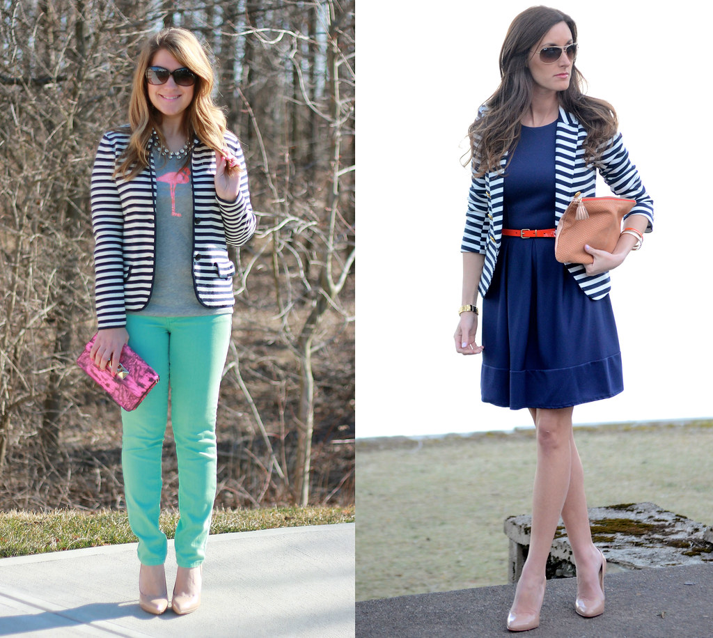 two ways to wear a striped blazer