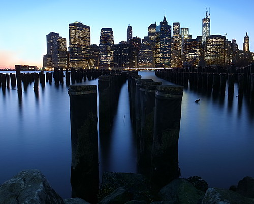 Night falls on lower Manhattan