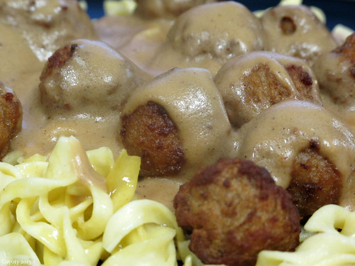 Swedish meatballs on buttered egg noodles by Coyoty