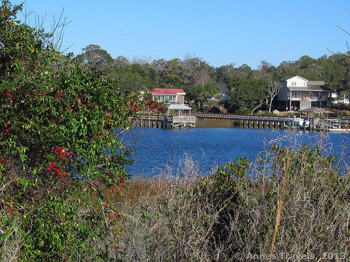 A peek-a-boo view of the Intercoastal Waterway along a Marsh Loop, Holden Beach, North Carolina