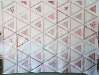 There! A quilt top made of whites, soft colors, soft Liberty cottons, and a few random voiles.  This is why I love having a fabric stash.  Blog post: domesticat.net/quilts/equinox