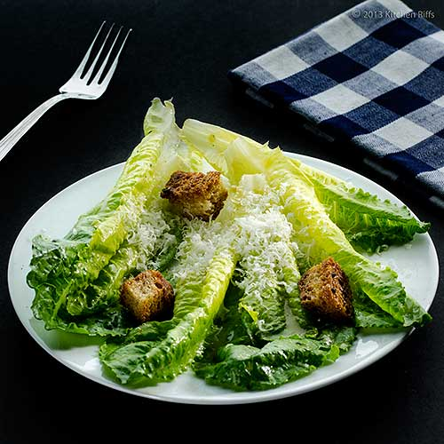 Caesar Salad on Plate with Croutons