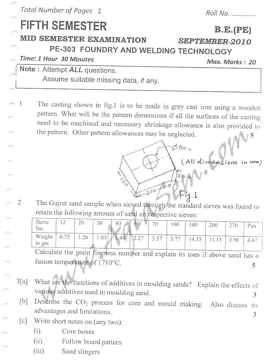 DTU Question Papers 2010 – 5 Semester - Mid Sem - PE-303