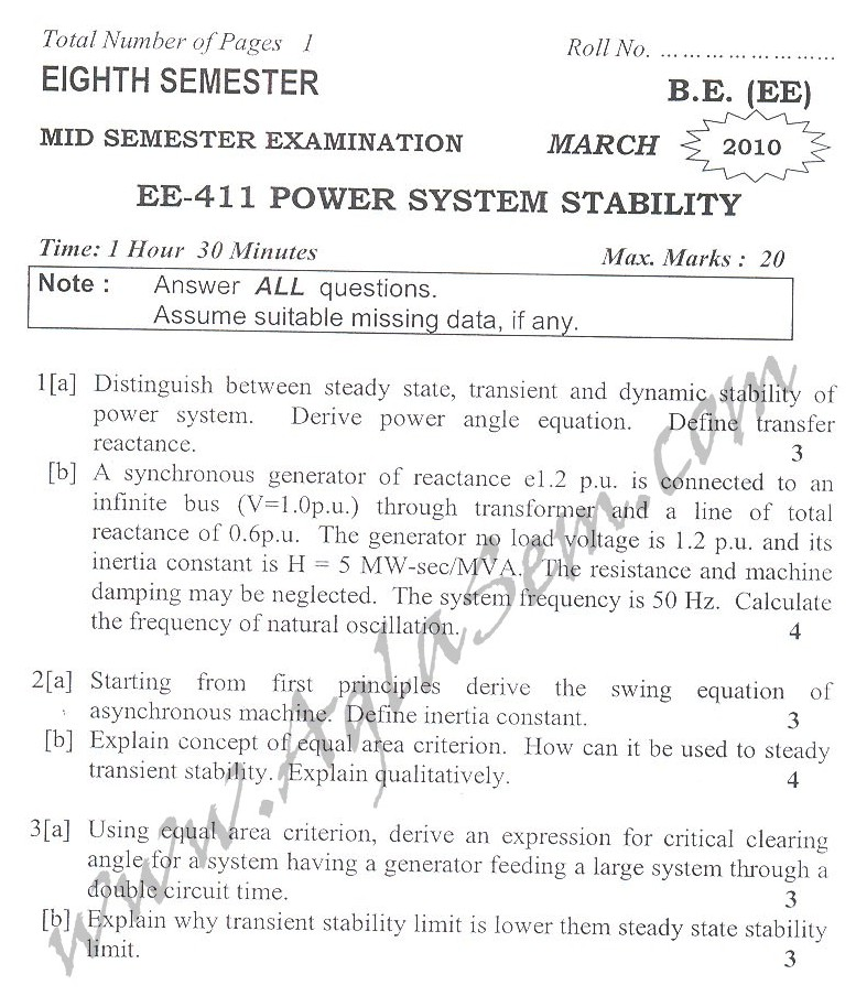 DTU Question Papers 2010 – 8 Semester - Mid Sem - EE-411