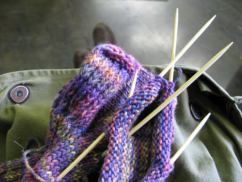 Knitting away