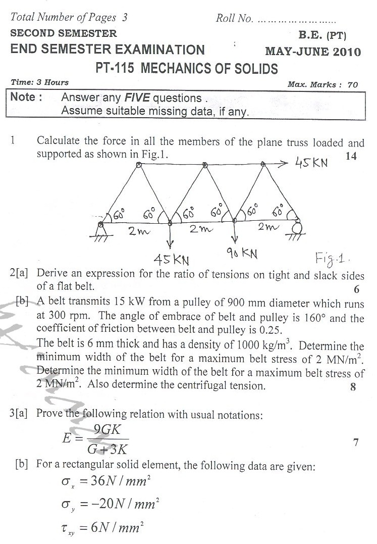 DTU Question Papers 2010 – 2 Semester - End Sem - PT-115