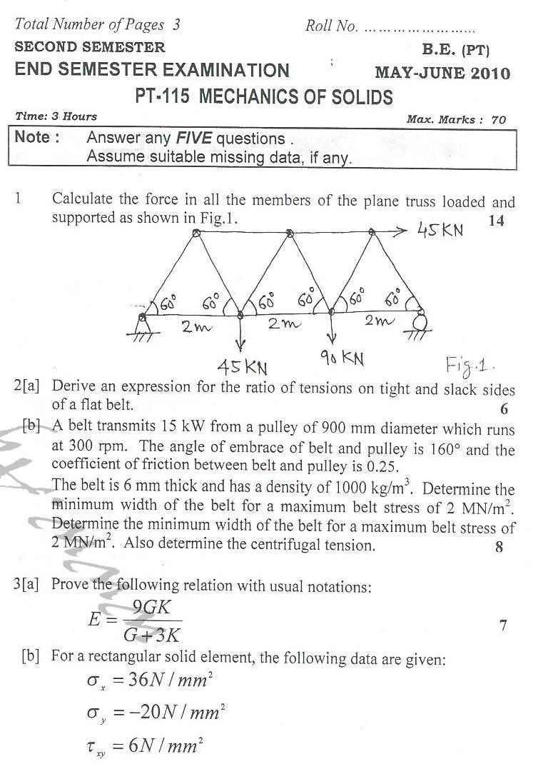 DTU Question Papers 2010 – 2 Semester - End Sem - PT-115