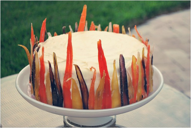 Tropical Carrot Cake with Candied Rainbow Carrots