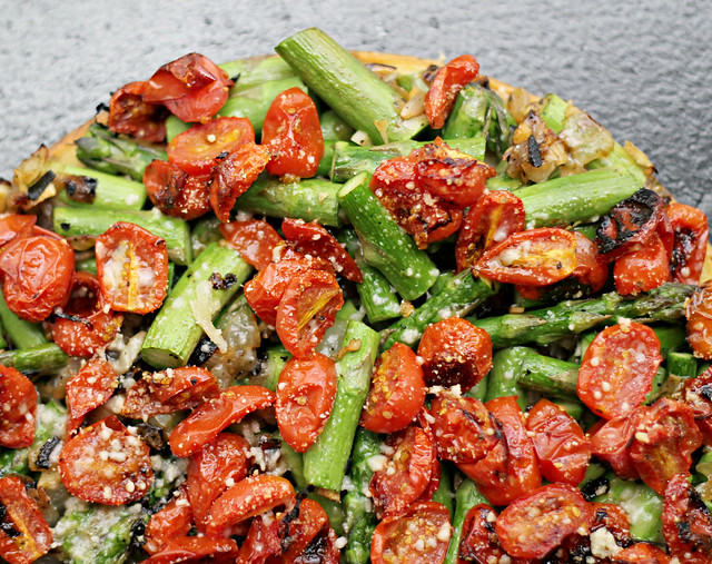 Asparagus, Tomato, and Onion Farinata | Joanne Eats Well With Others