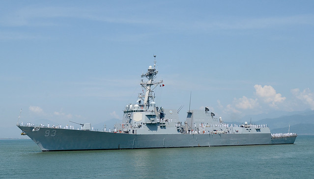 DA NANG, Vietnam - The  guided-missile destroyer USS Chung Hoon (DDG 93) arrives in Da Nang, Vietnam, for a naval engagement activity.