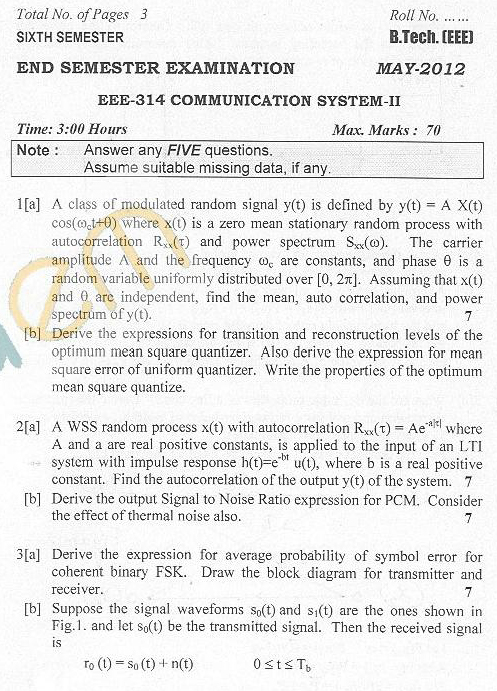 DTU Question Papers 2012 - 6 Semester - End Sem - EEE-314