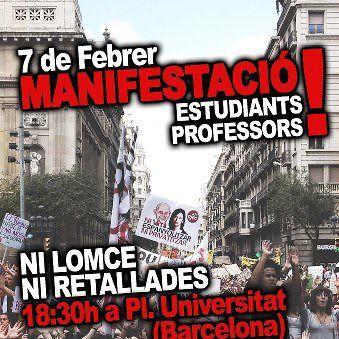 cartell vaga d´estudiants i professors 7 febrer 2013