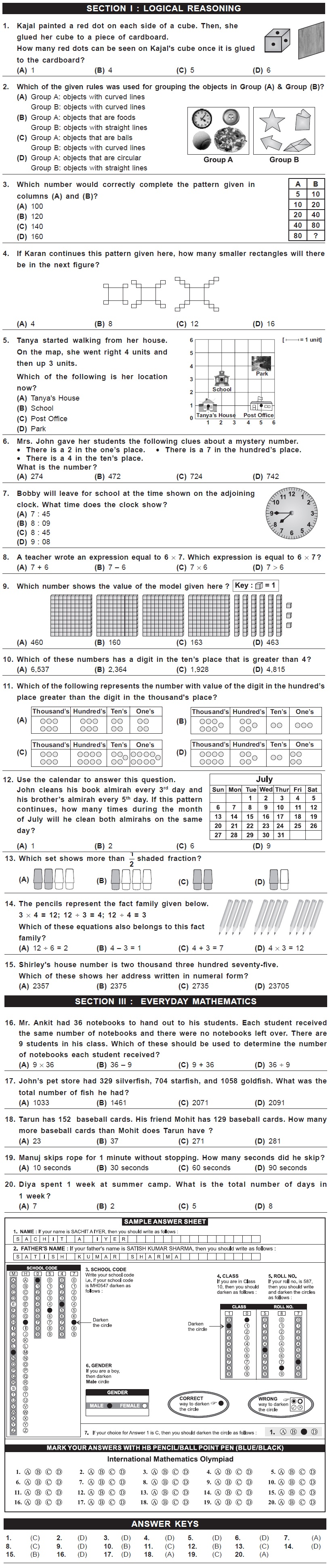 IMO 2nd Level Sample Papers - Class 3