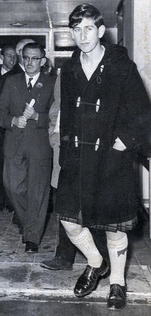 1973 Prince Charles wore his duffel coat over his kilt on a school tour in the 1960s