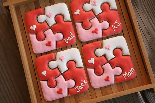 Puzzle Valentine Cookies.