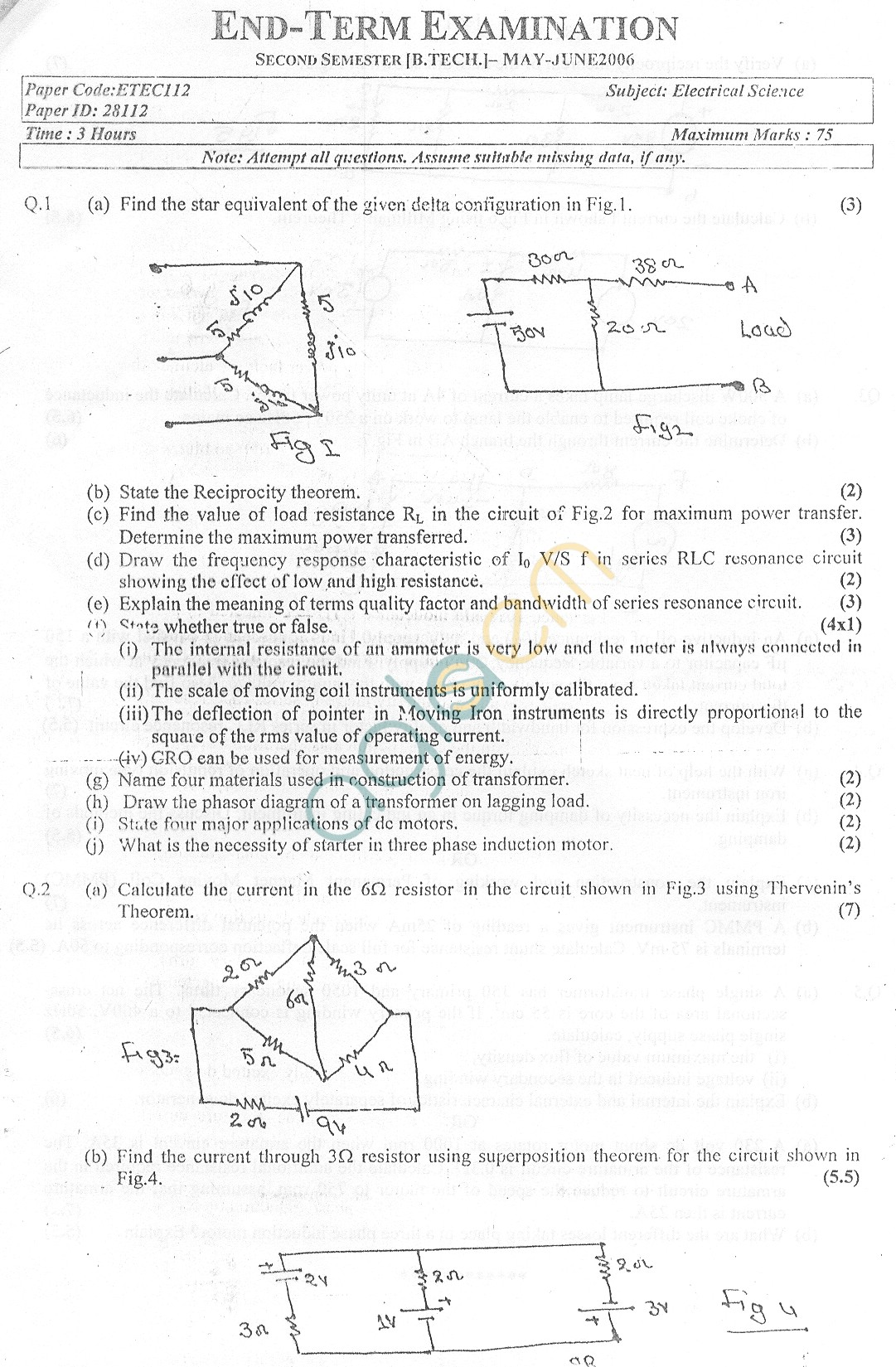 GGSIPU Question Papers Second Semester – end Term 2006 – ETEC-112