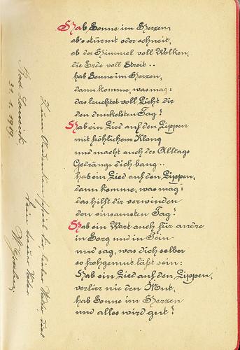 Helmuts Poesiealbum 1919 Hab Sonne im Herzen Schönschrift